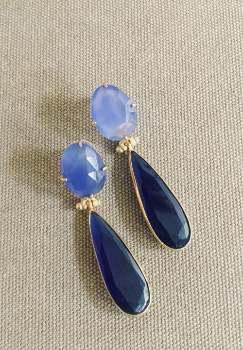 BerNice Amsterdam accessoires oorbellen blauw gold platede
