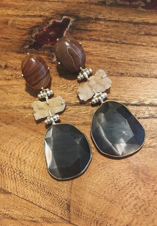 BerNice Amsterdam Edelsteen Oorbellen accessoires grijs