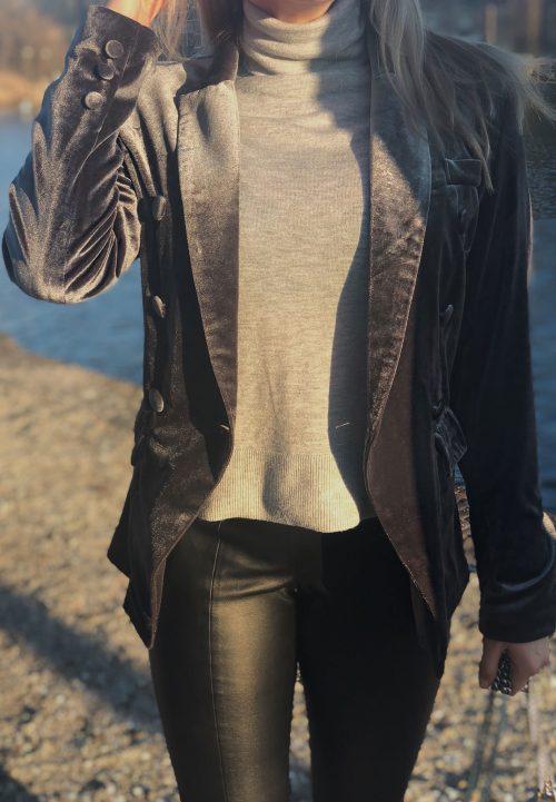 grey velvet colbert blazer ambika