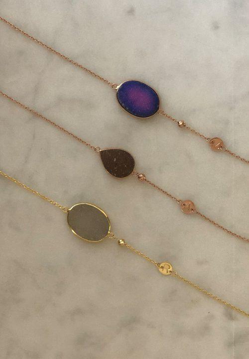 byMarieve natuursteen armbanden goldplated